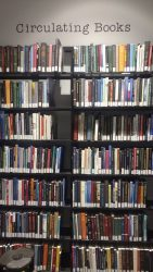 Several bookshelves from the Journalism library.