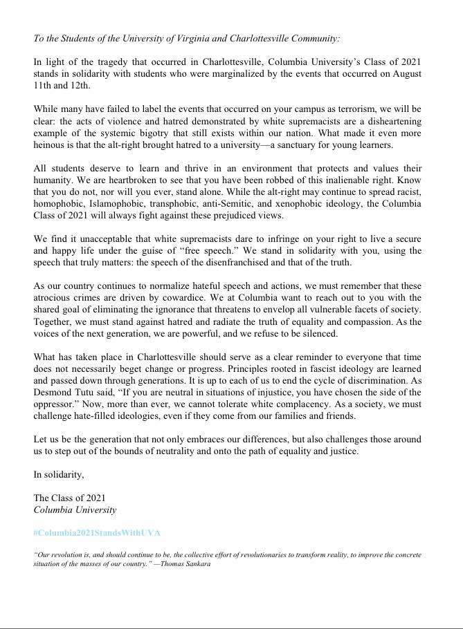 Columbia Acceptance Letter.Bwog Class Of 2021 Releases Their Own Statement On