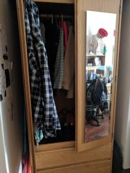 Standard-size wardrobes...but unrenovated rooms get slightly sad closets