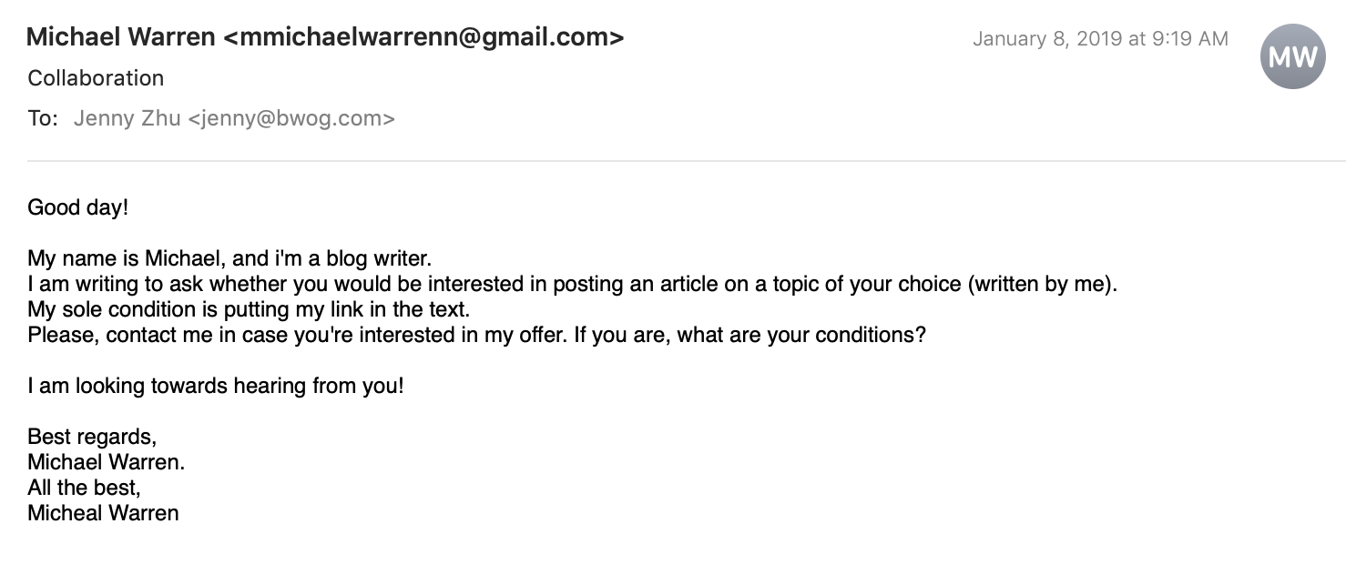 Bwog » Dear Email Spammers, Bwog Is Not Interested In A